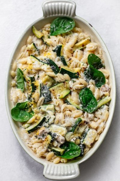 Creamy Chicken Pasta with Zucchini and Lemon