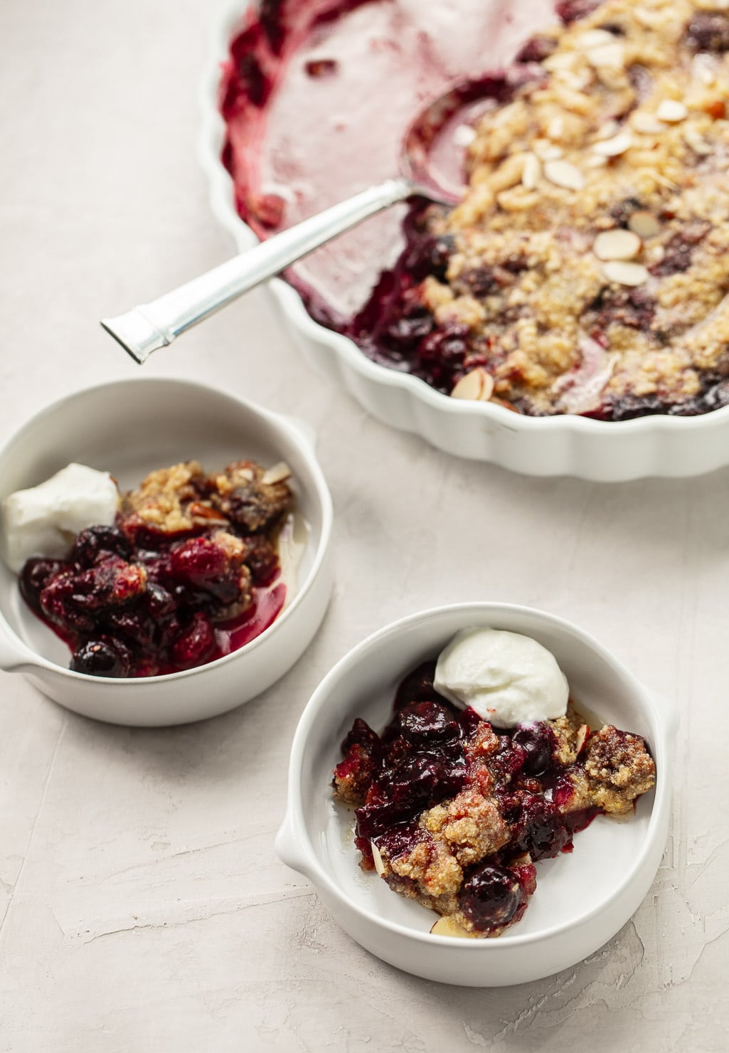 Frozen Sweet Cherry Crisp with Cornmeal and Almonds