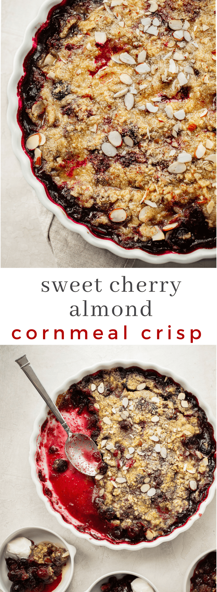 Sweet Cherry Crisp with Cornmeal and Almonds