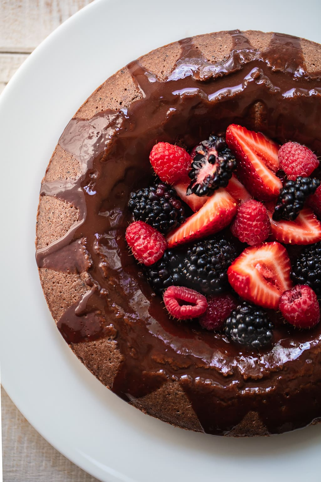 Glazed Italian Chocolate Ring Cake with Berries