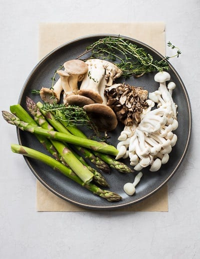 Food photography - Spring Asparagus and Wild Mushrooms