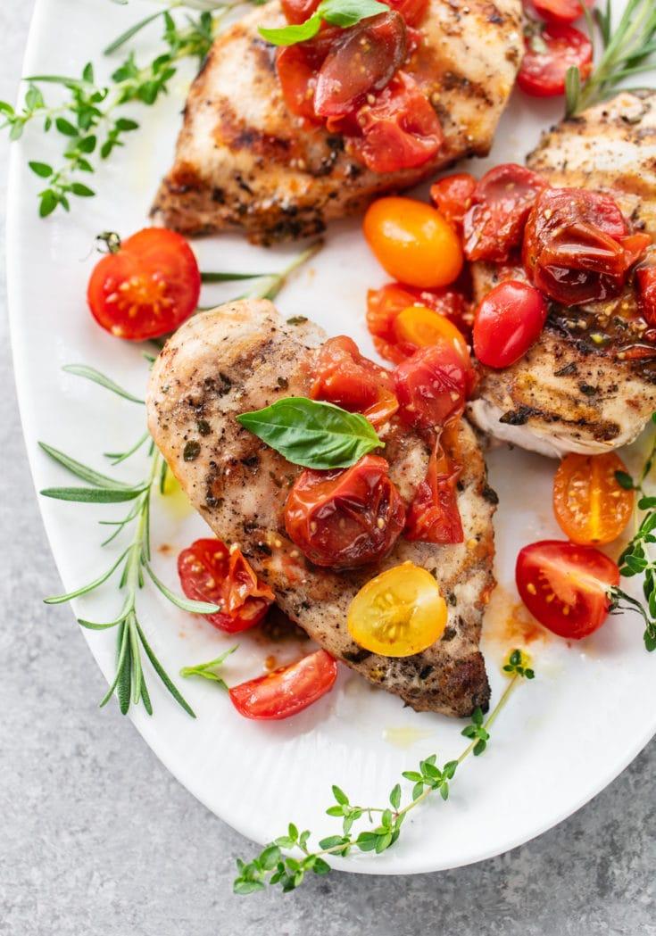 Chicken Bruschetta with Tomato Salad