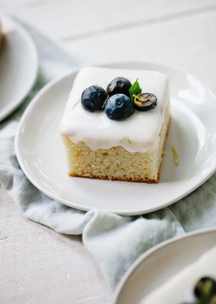 Lemon Sheet Cake with Blueberries and Mascarpone