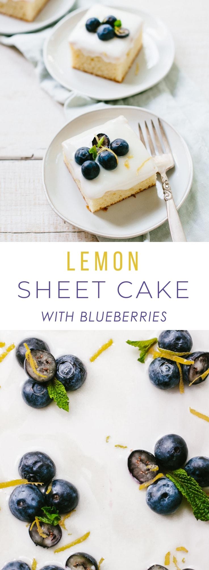 Lemon Sheet Cake with Blueberries and Mascarpone Glaze