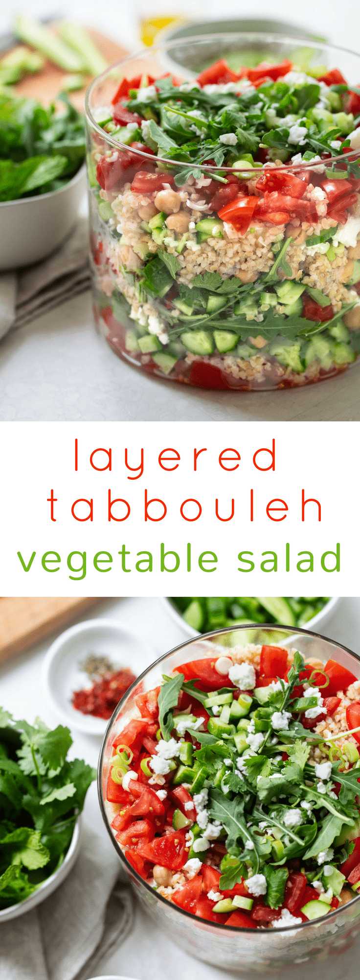 Layered Vegetable Tabbouleh Salad: An easy an healthy make-ahead recipe