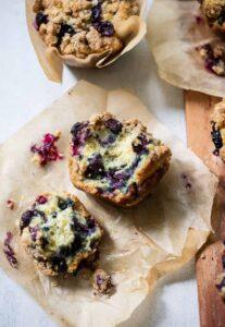 Big Blueberry Buttermilk Crumble Muffins