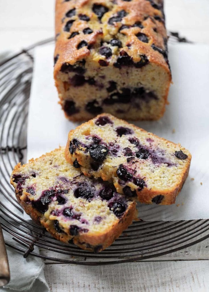 Blueberry Olive Oil Loaf Cake with Cornmeal