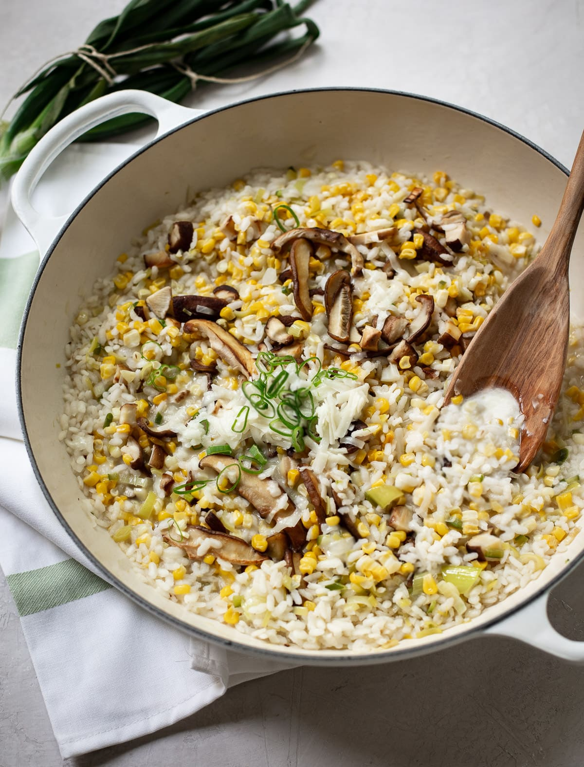 No-Stir Sweet Corn and Cheddar Mushroom Risotto