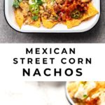 Mexican Elote, made into delicious tacos with spicy roasted corn, cheese and crema!