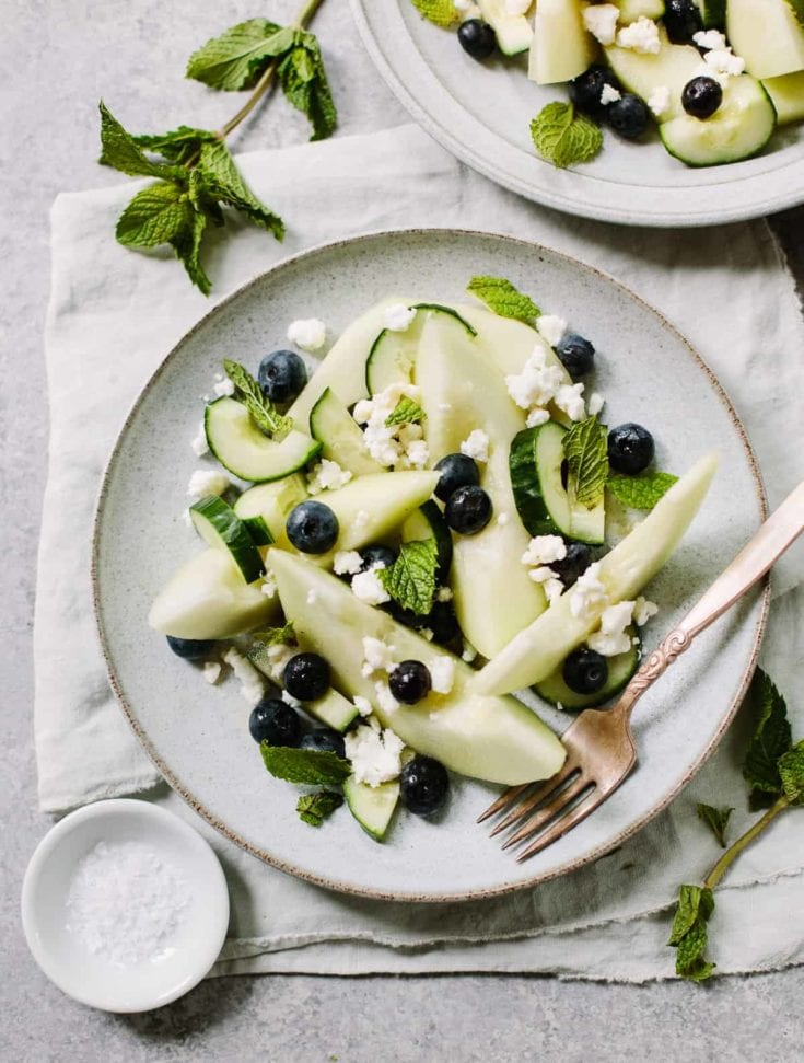Cool Honeydew Melon Salad with Feta, Cucumber and Blueberries