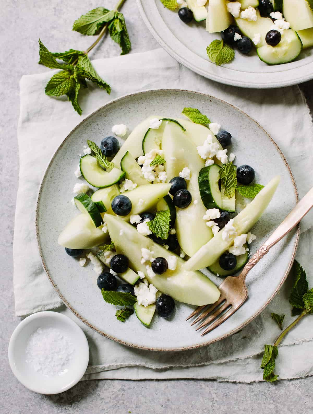 Cool Honeydew Salad with Cucumber, Blueberries and Feta