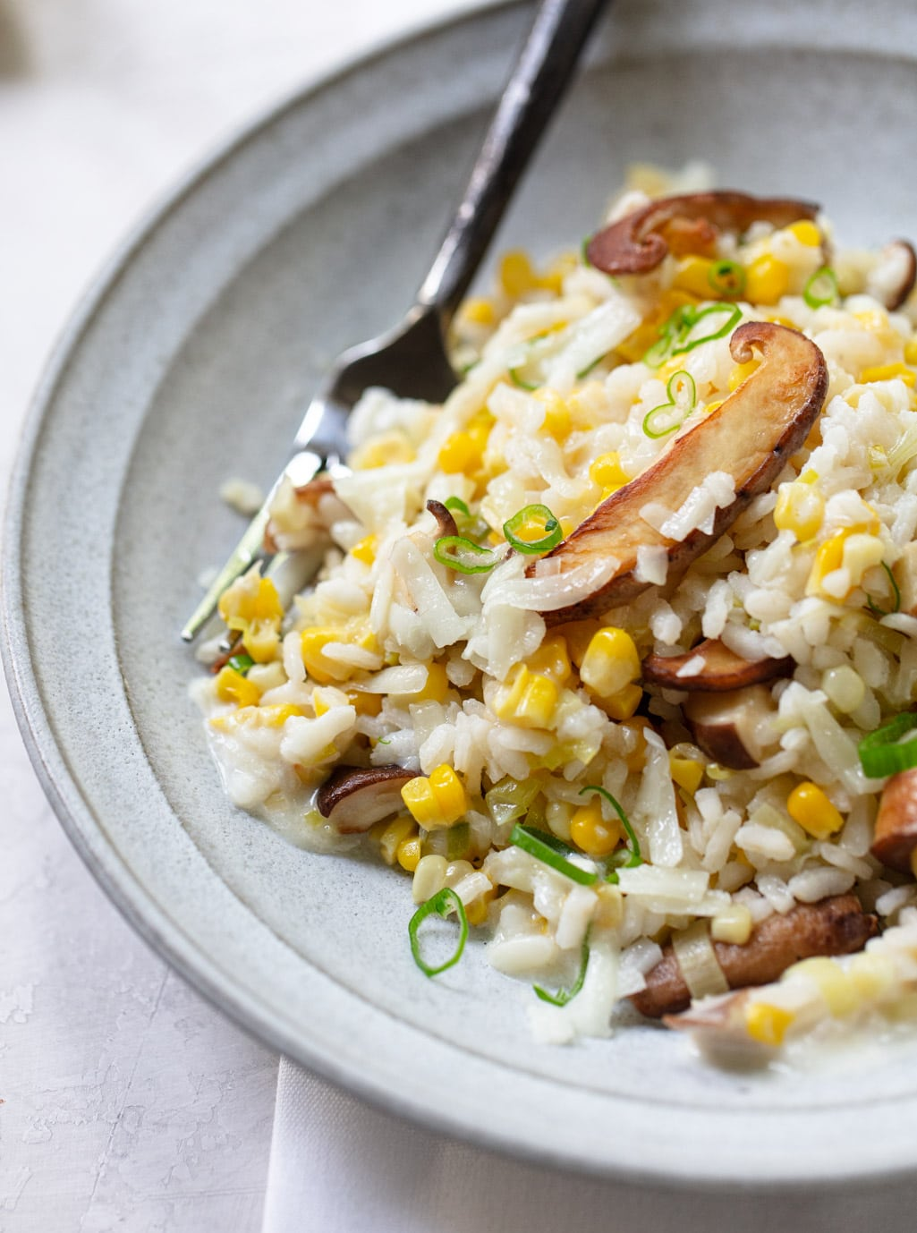 Corn and Cheddar Mushroom Risotto, No-Stir