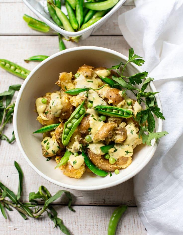 Smashed Potato Salad with Tarragon Aioli