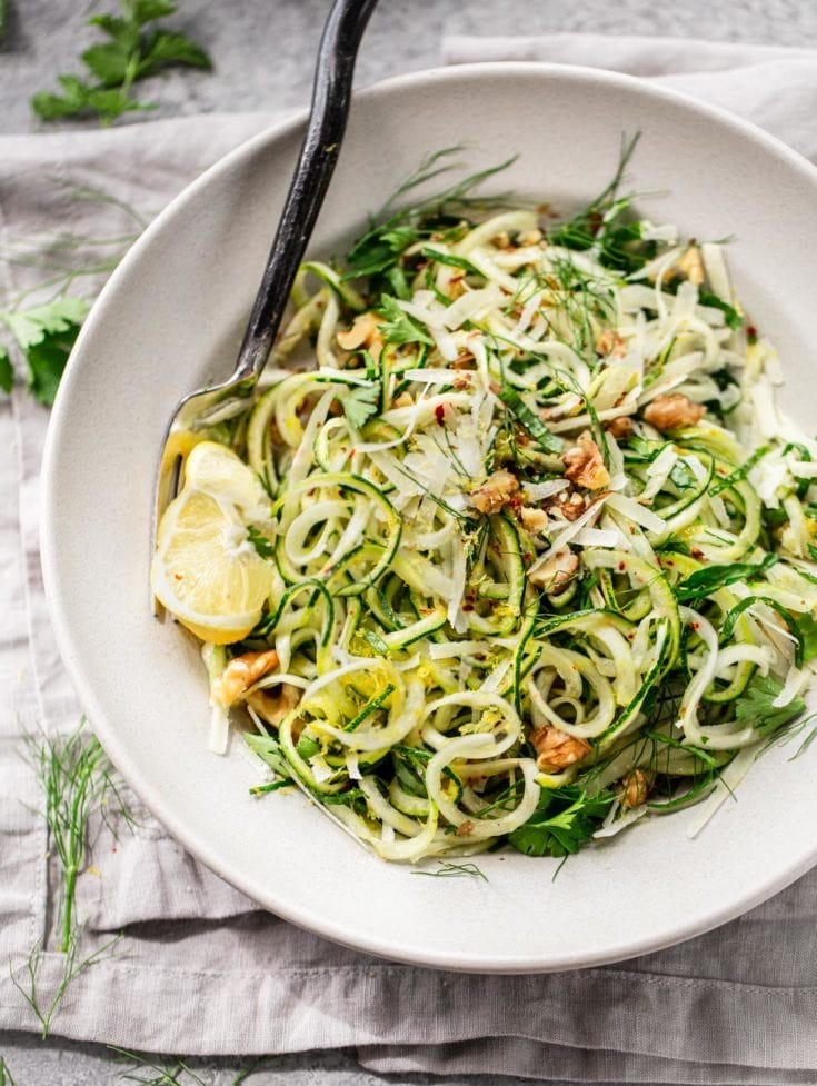 Parmesan Zucchini Noodles with Lemon and Olive Oil