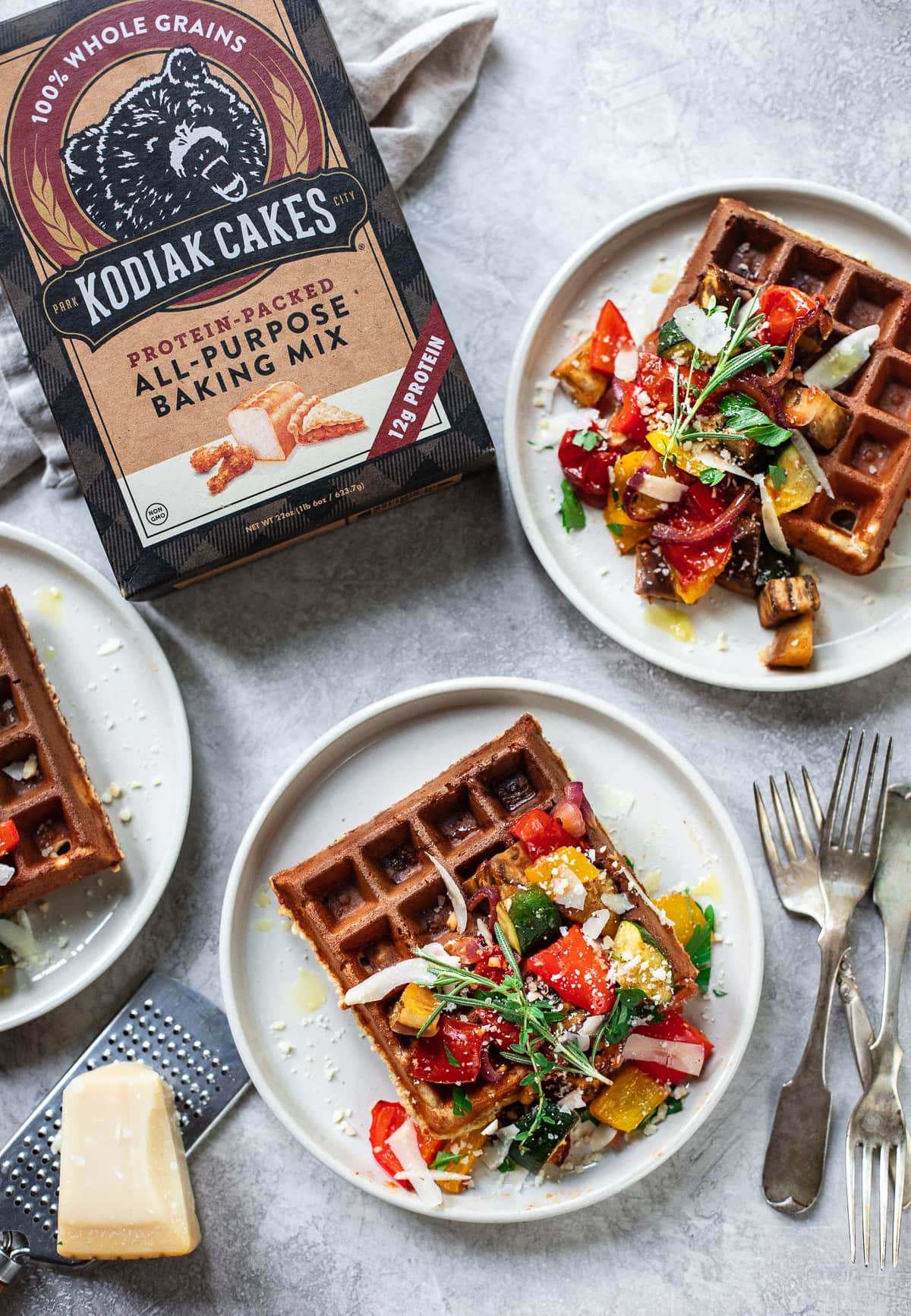 Whole Grain Parmesan Waffles with Roasted Vegetables