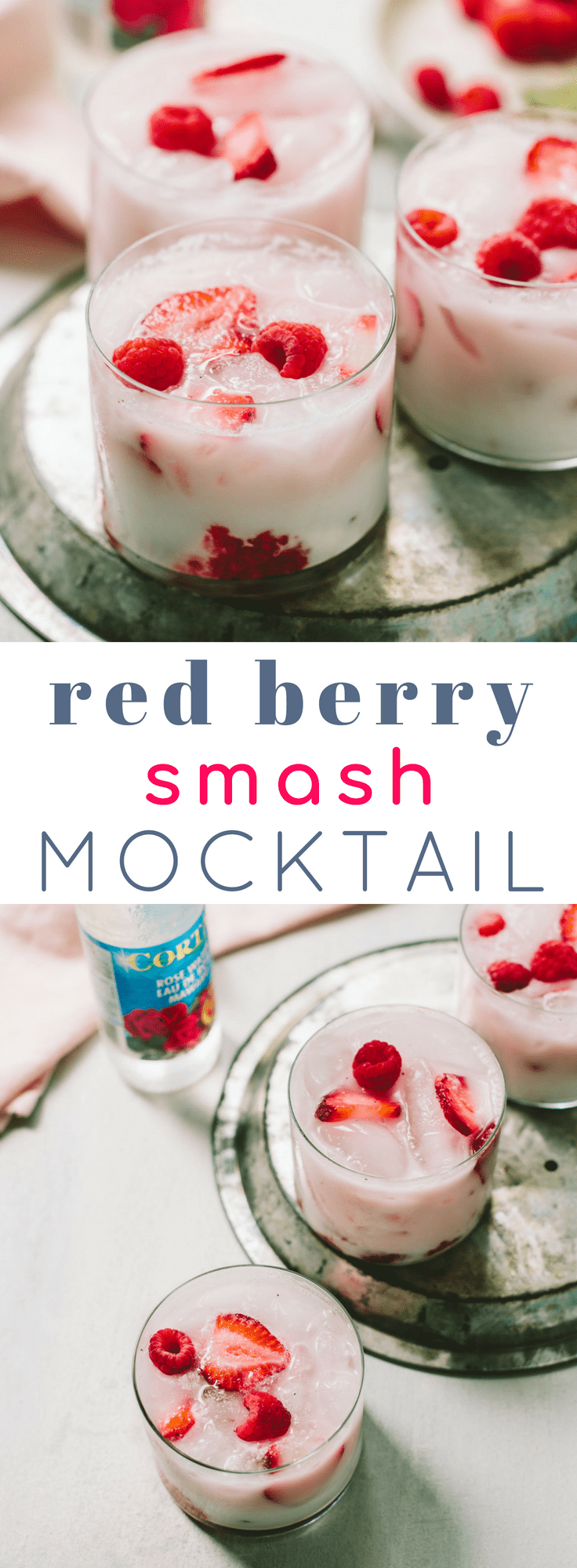 Coconut and Rosewater Red Berry Mocktail Smash #cocktails #pink #healthy #parties #nonalcoholic