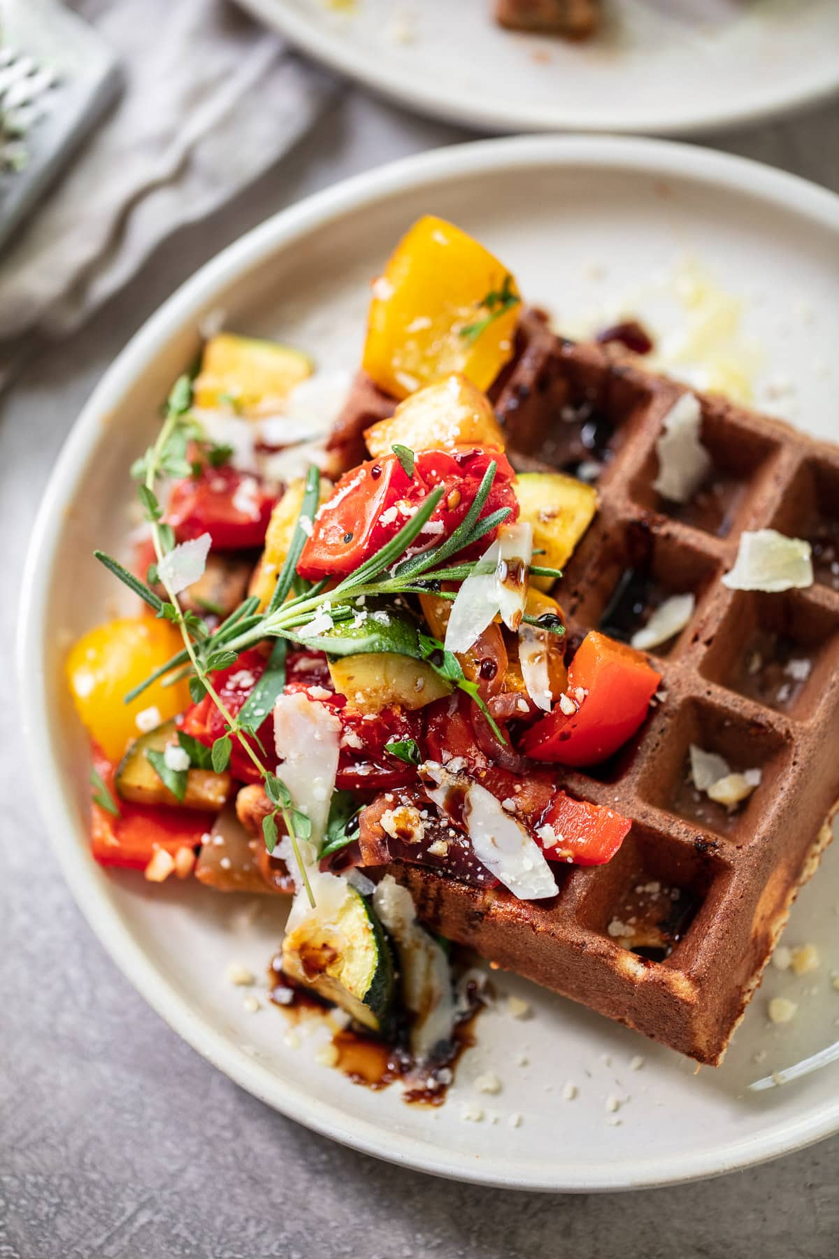 Savory Whole Grain Parmesan Waffles with Roasted Vegetables