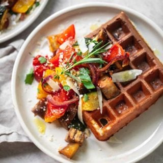 Parmesan Waffles with Balsamic Roasted Vegetables