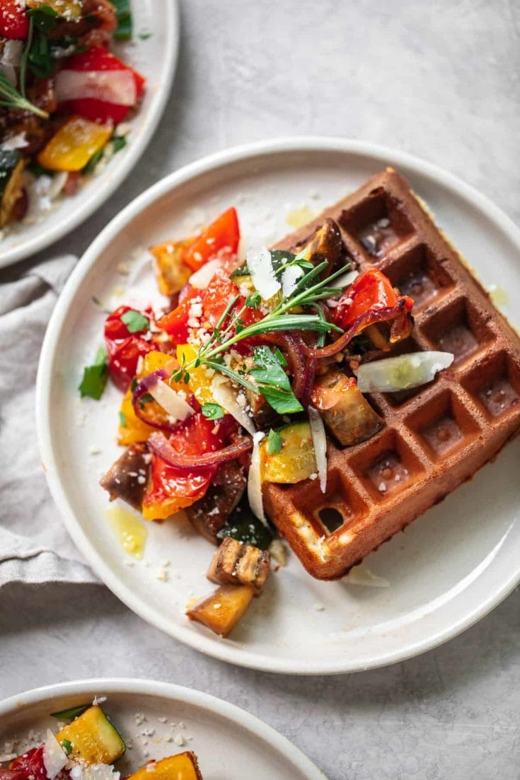 Savory Parmesan Waffles with Roasted Vegetables