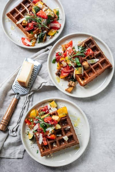 Savory Parmesan Waffles with Balsamic Roasted Vegetables