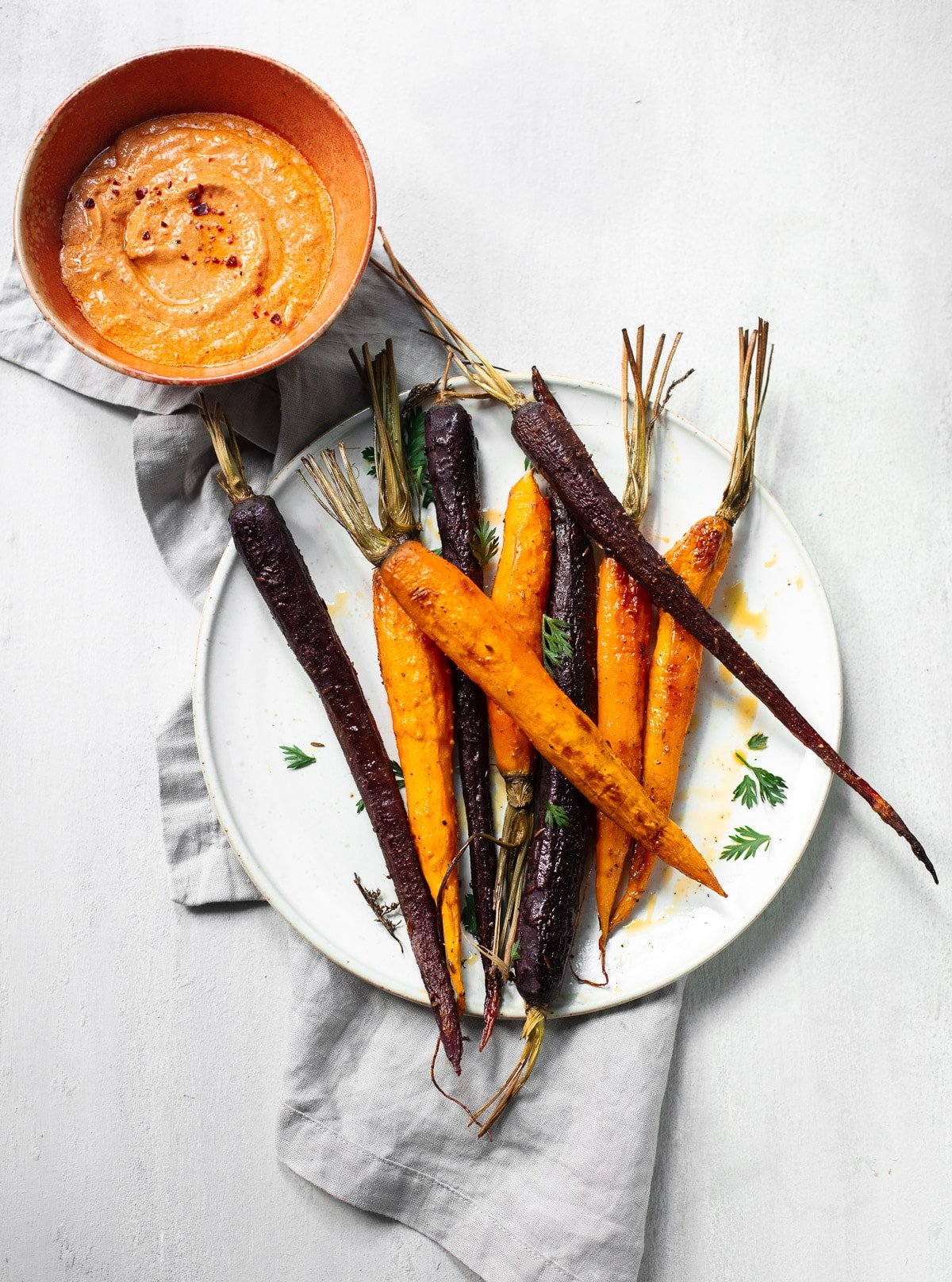 Spice Roasted Carrots with Whipped Red Pepper Feta