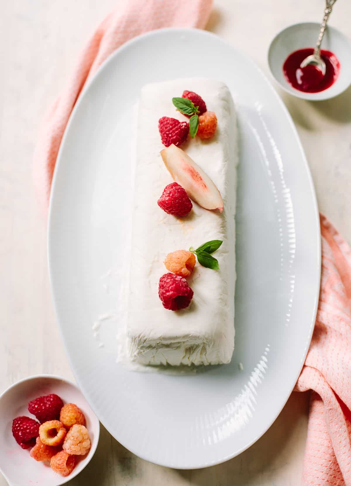 Triple Cream Vanilla Semifreddo with Raspberry Sauce