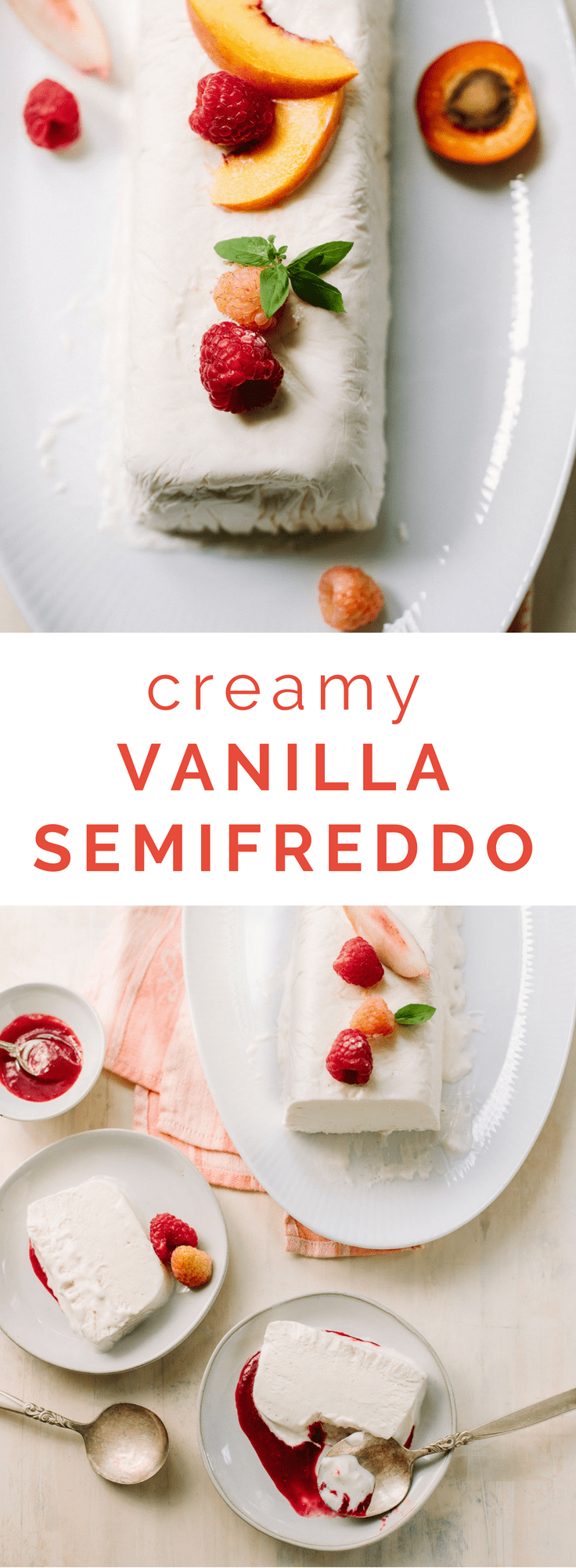 Tripe Cream Vanilla Semifreddo with Raspberry Sauce