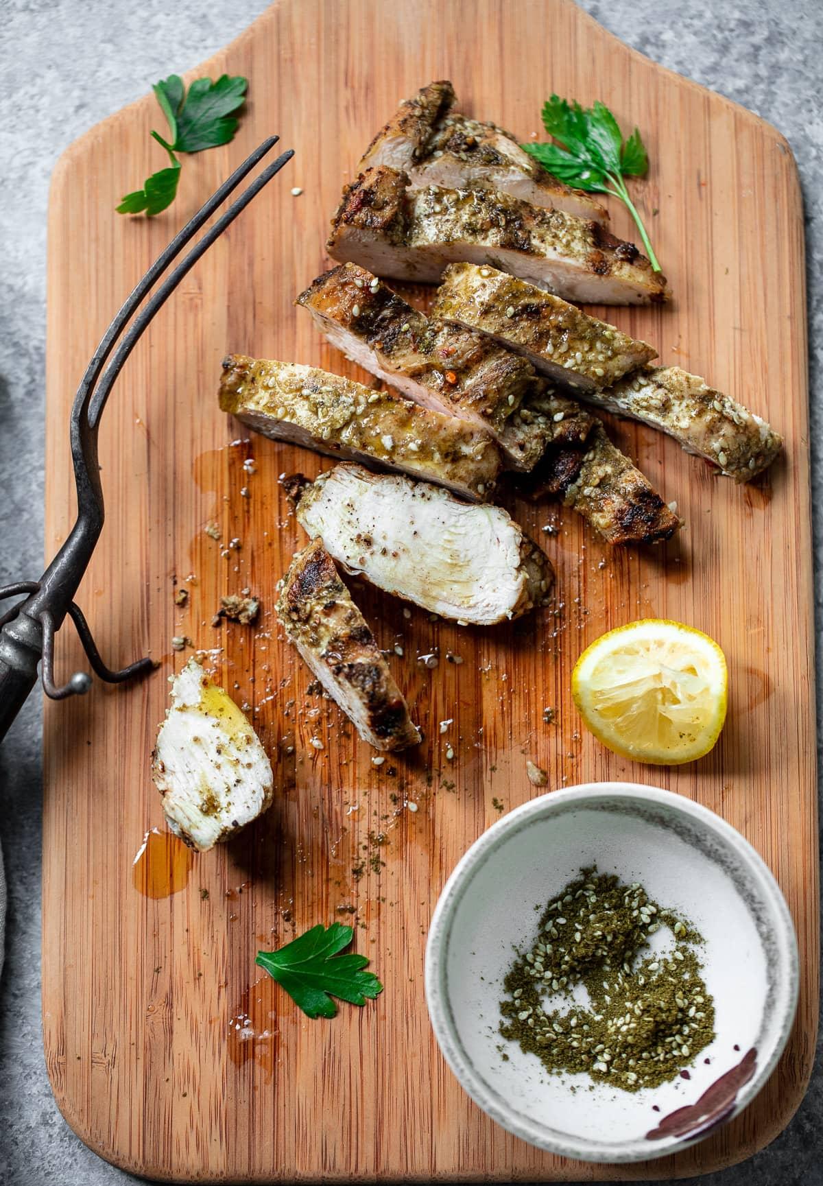 Za'atar Lemon Chicken with Fried Chickpeas and Herb Tahini