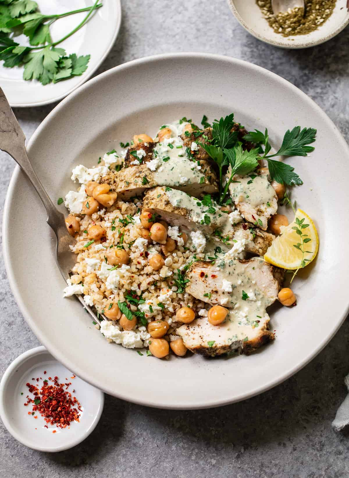 Za'atar Lemon Chicken with Fried Chickpeas and Herb Tahini