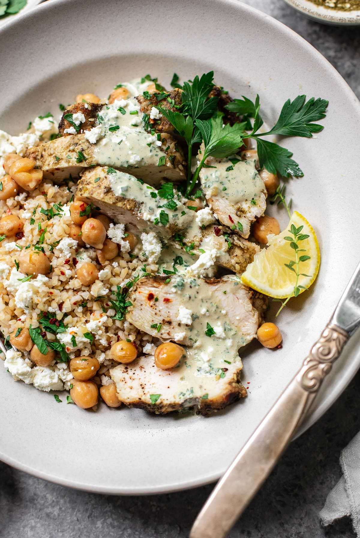 Lemon Chicken with Middle Eastern Za'atar, Fried Chickpeas and Herb Tahini