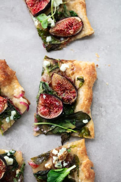Fresh Fig Puff Pastry Flatbread with Blue Cheese and Greens
