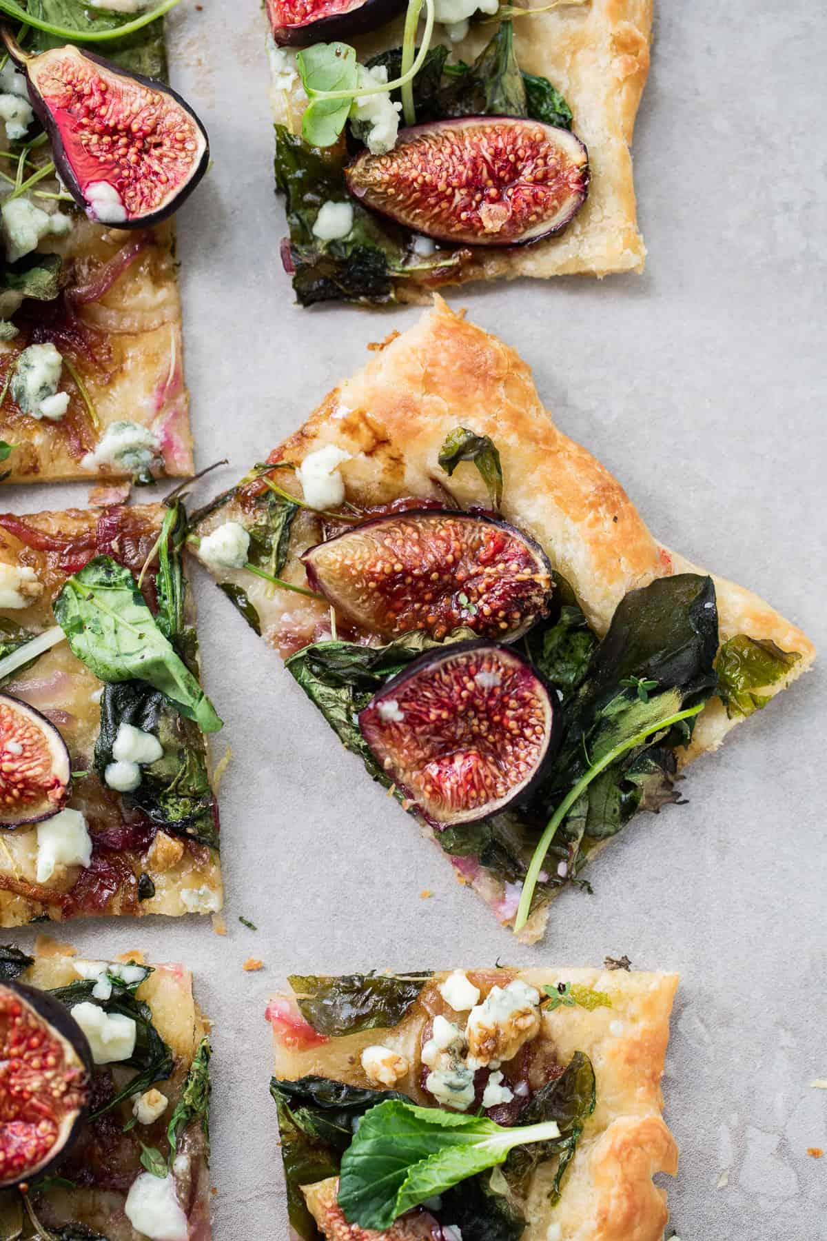 Puff Pastry Fig Flatbread with Blue Cheese and Greens
