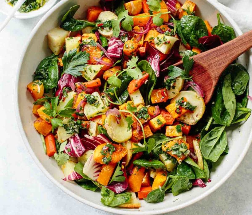 Fall Root Vegetable Salad with Chimichurri Dressing