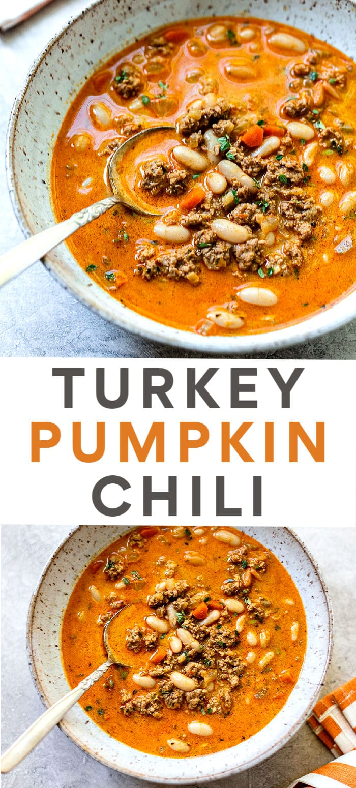 Creamy White Bean and Turkey Pumpkin Chili: Fall comfort food to love, with creamy pumpkin puree simmered with cannellini beans.