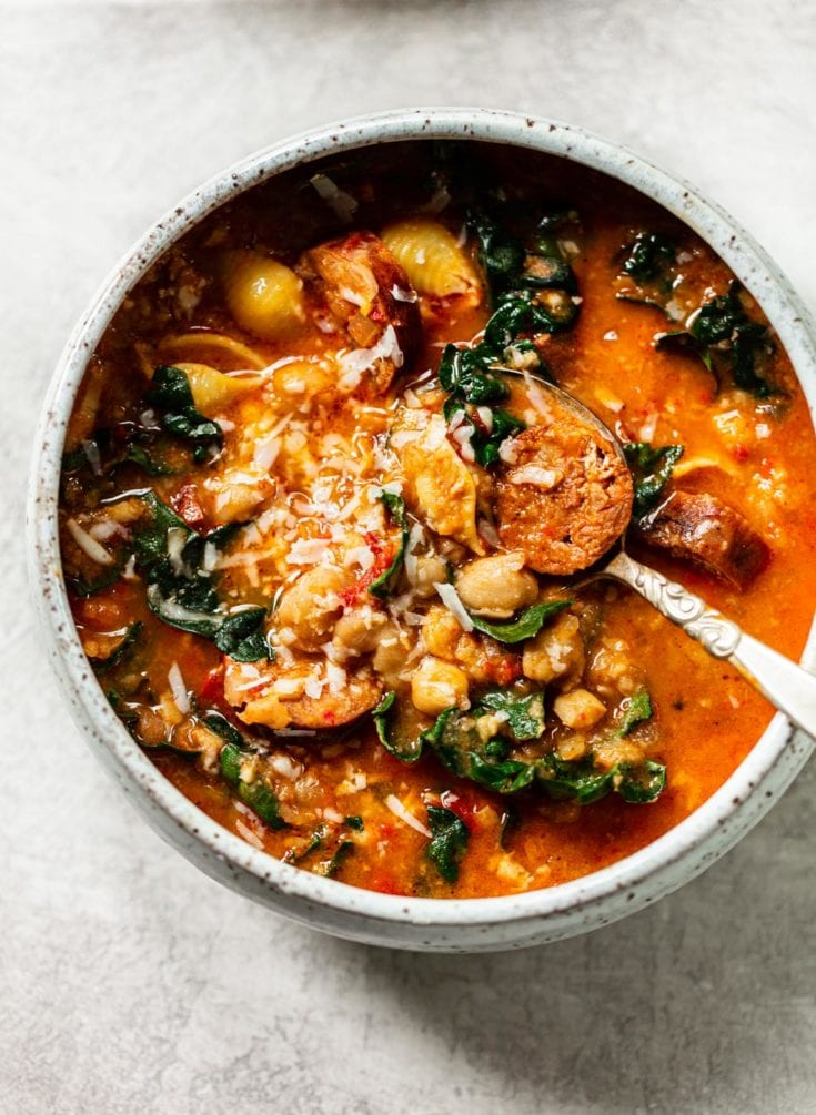 One-Bowl Chorizo Chickpea Stew with Greens