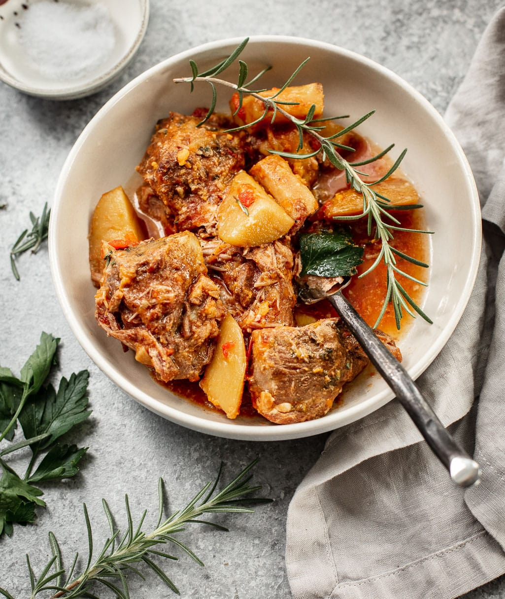 Slow-Cooker Italian Pork Shoulder with Rosemary Potatoes