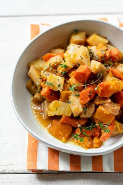 Slow Cooker Root Vegetables with Apple Cider Glaze