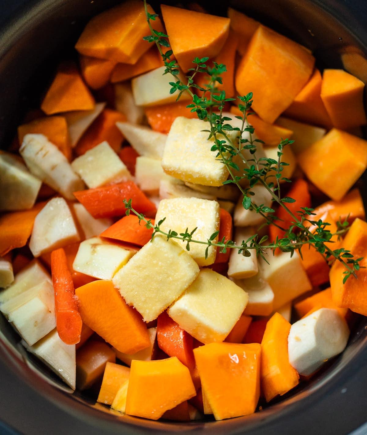 Slow Cooker Root Vegetables with Apple Cider Glaze