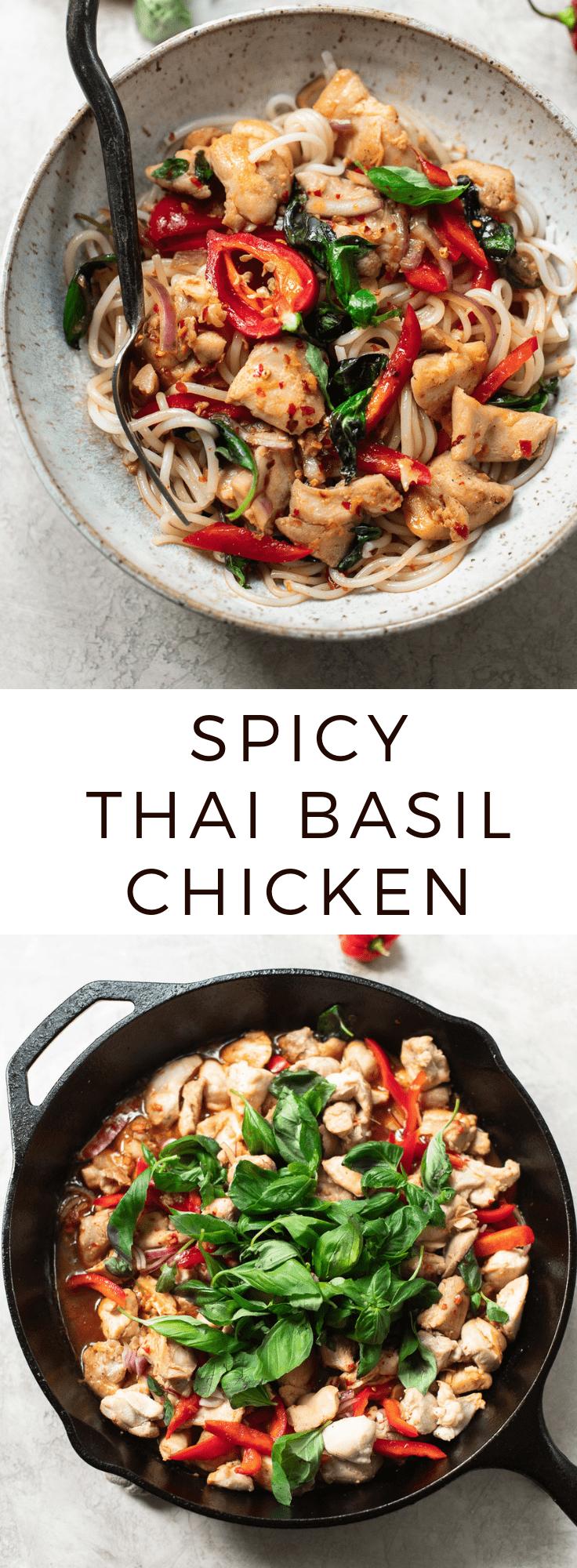 Thai Basil Chicken with Chili Garlic Sauce #lowcarb #chicken #spicy #thaifood #dinner #easy #quickrecipe