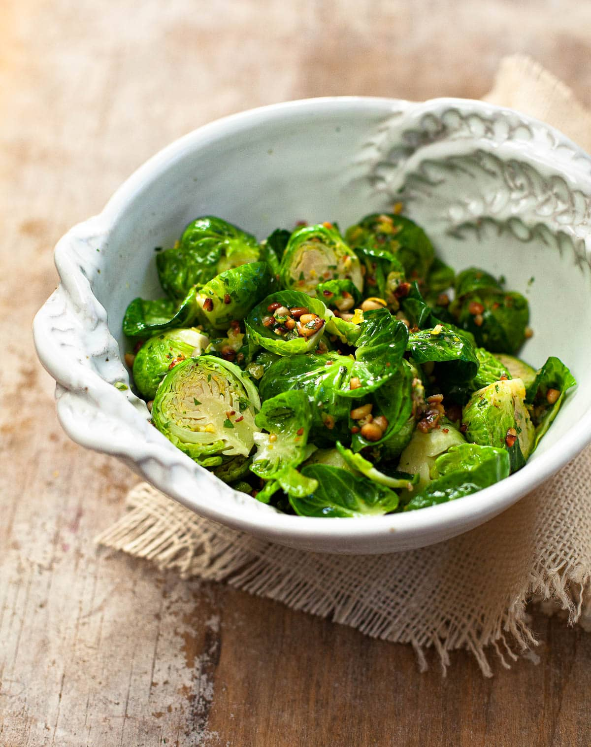 Steamed Brussels Sprouts with Lemon Gremolata