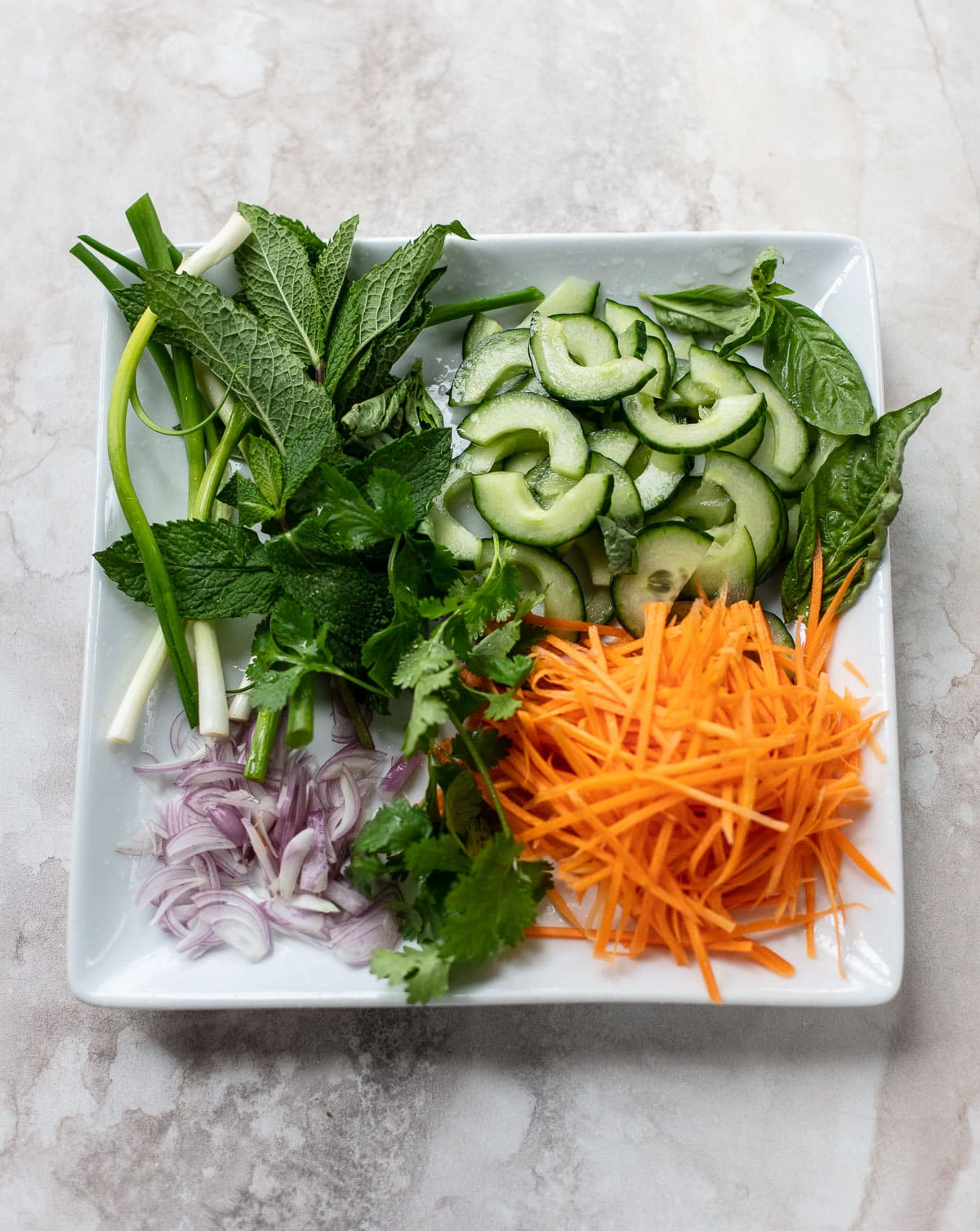 Ingredients for Vietnamese Shrimp Salad: Fresh mint, cilantro, green onion, carrot and cucumber.