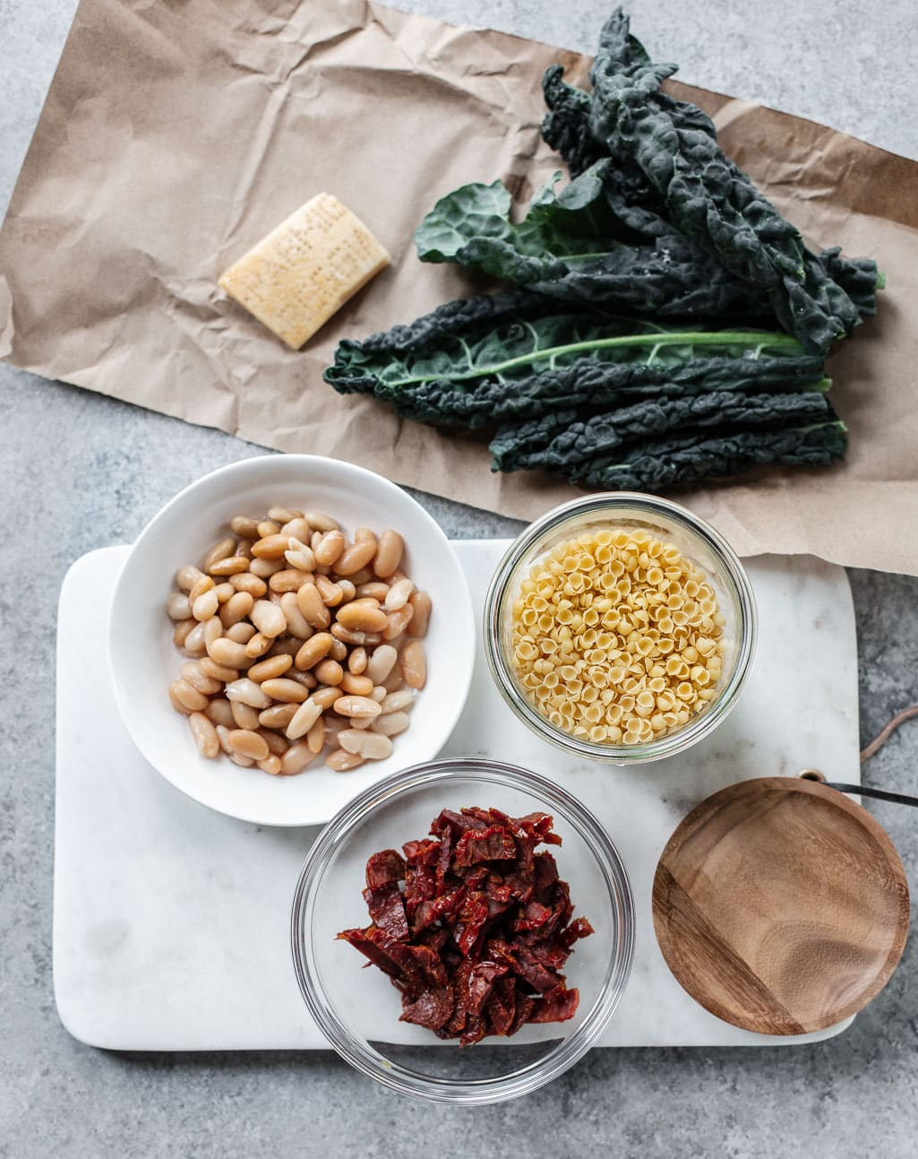 Ingredients for Creamy Instant Pot Pasta Fagioli with Kale