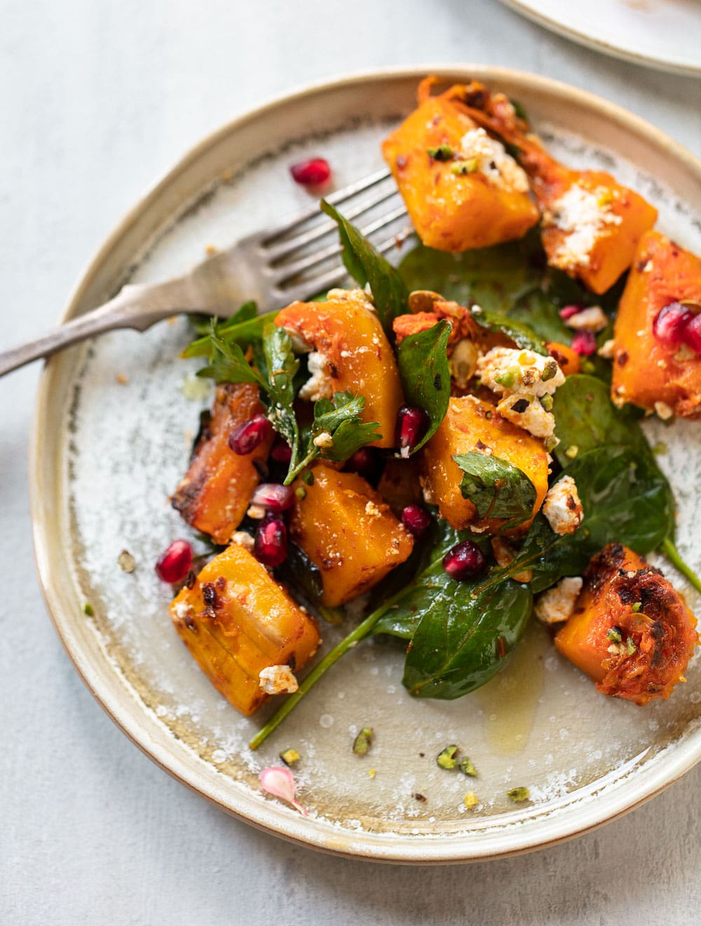 Roasted Harissa Butternut Squash Salad with Feta Cheese