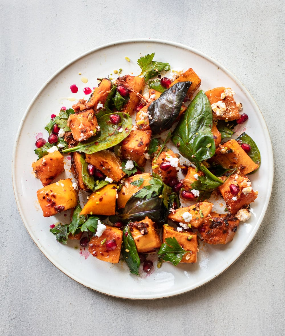 Roasted Harissa Butternut Squash Salad with Feta