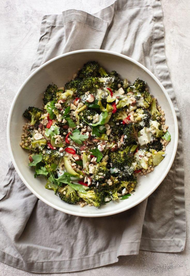 Roasted Broccoli Salad with Couscous and Lemon Tahini