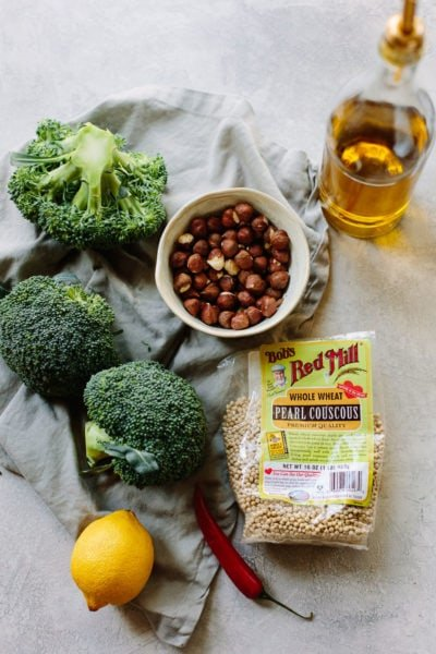 Roasted Broccoli Salad with Couscous and Lemon Tahini Sauce