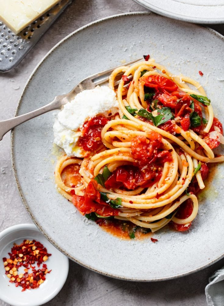 Bucatini with Sheet Pan Tomato Diavolo Sauce