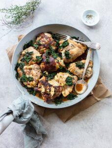 Skillet Herb Dijon Chicken with Kale