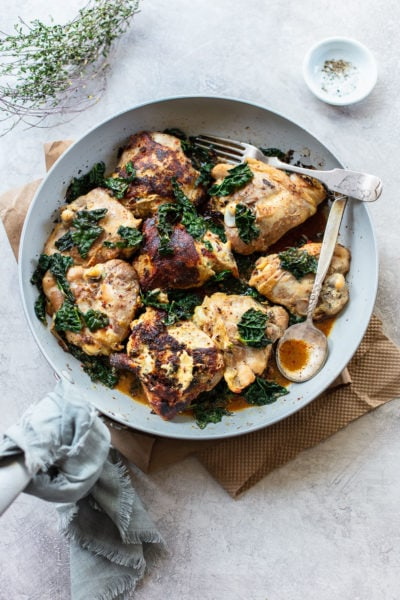 Skillet Herb Dijon Chicken with Kale