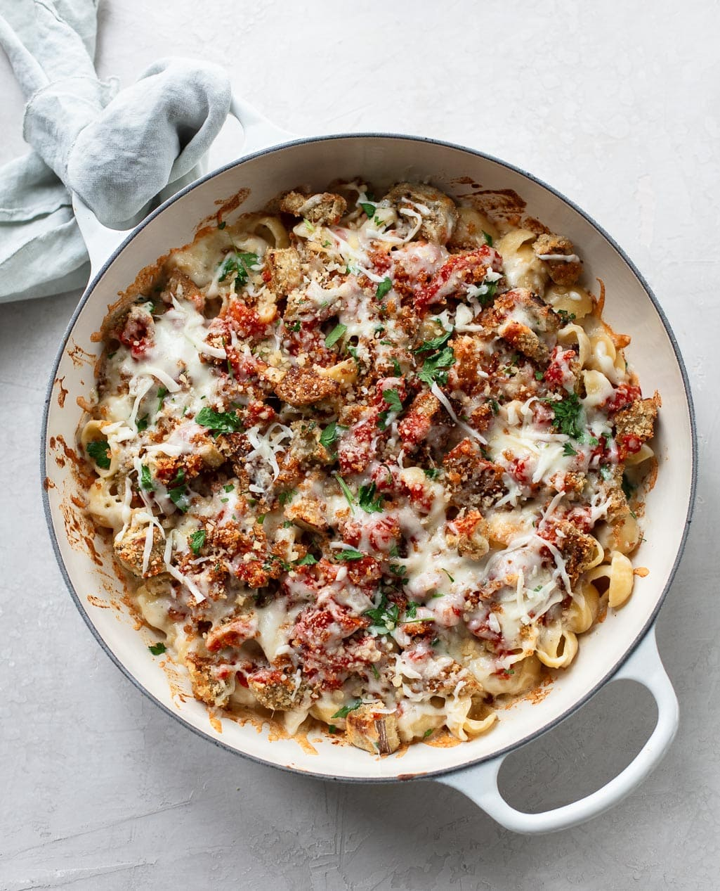 Baked Eggplant Parm Mac and Cheese